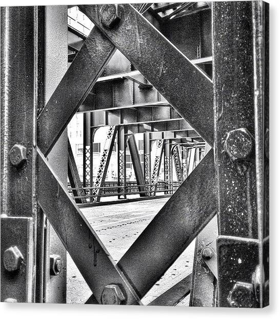 Architecture Canvas Print - Chicago Bridge Iron In Black And White by Paul Velgos