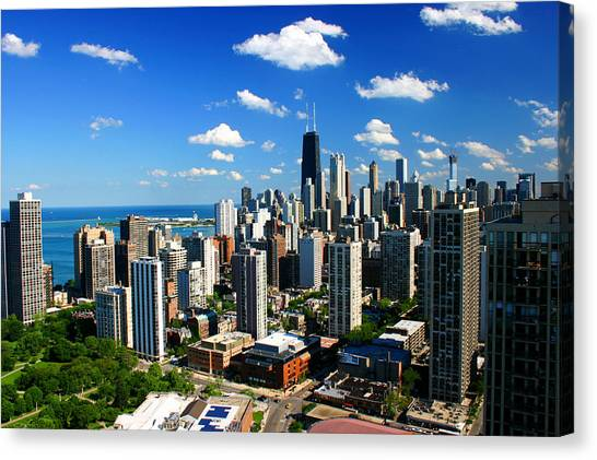 Chicago Buildings Skyline Clouds Canvas Print