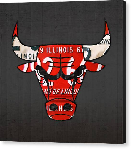Chicago Bulls Canvas Print - Chicago Bulls Basketball Team Retro Logo Vintage Recycled Illinois License Plate Art by Design Turnpike