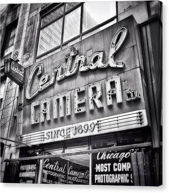 White Canvas Print - Chicago Central Camera Sign Picture by Paul Velgos