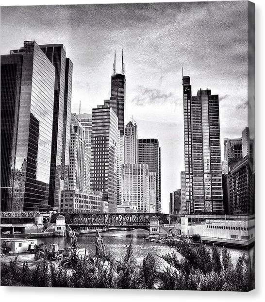 Skylines Canvas Print - Chicago River Buildings Black And White Photo by Paul Velgos