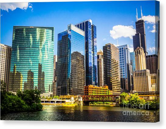 Skylines Canvas Print - Chicago City Skyline by Paul Velgos