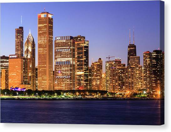 Chicago Cityscape At Dusk Viewed From Canvas Print