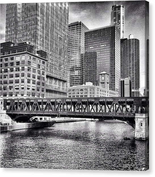 Skyscrapers Canvas Print - Wells Street Bridge Chicago Hdr Photo by Paul Velgos