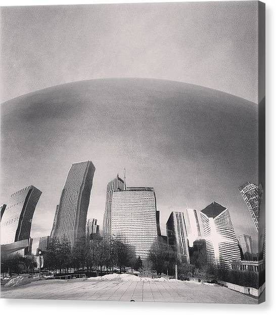 White Canvas Print - Cloud Gate Chicago Skyline Reflection by Paul Velgos