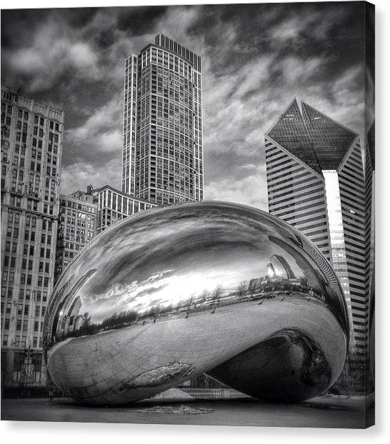 White Canvas Print - Chicago Bean Cloud Gate Hdr Picture by Paul Velgos