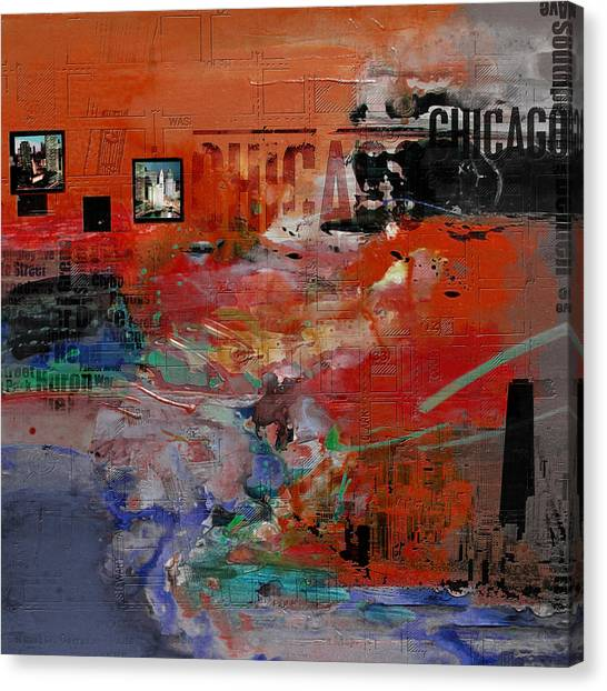 University Of Chicago Canvas Print - Chicago Collage 2 Alternative by Corporate Art Task Force
