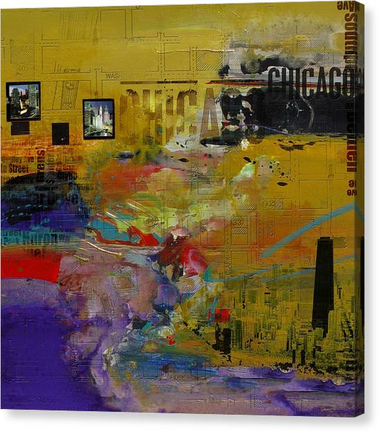 University Of Chicago Canvas Print - Chicago Collage 2 by Corporate Art Task Force