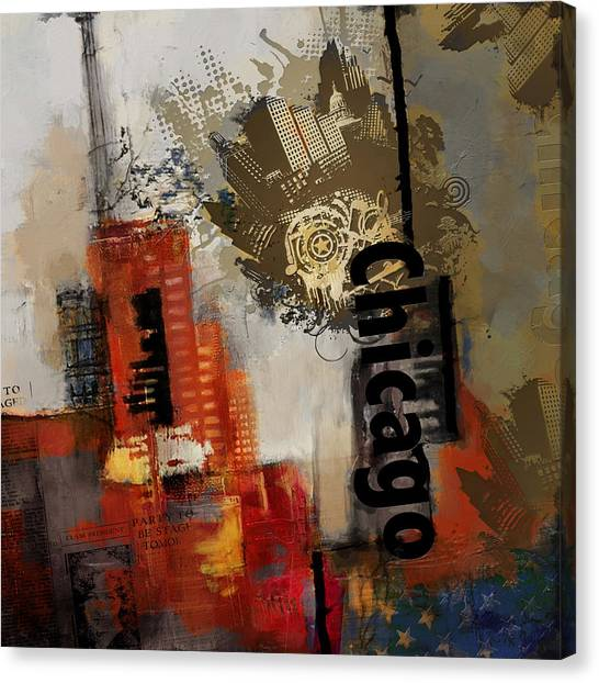 University Of Chicago Canvas Print - Chicago Collage by Corporate Art Task Force
