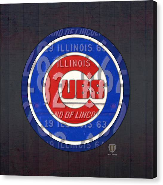 Chicago Cubs Canvas Print - Chicago Cubs Baseball Team Retro Vintage Logo License Plate Art by Design Turnpike