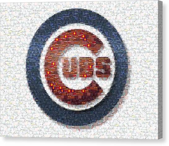 Baseball Teams Canvas Print - Chicago Cubs Mosaic by David Bearden