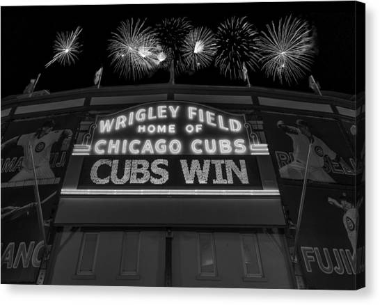 Chicago Cubs Canvas Print - Chicago Cubs Win Fireworks Night B W by Steve Gadomski