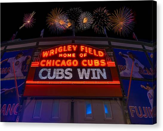 Chicago Cubs Canvas Print - Chicago Cubs Win Fireworks Night by Steve Gadomski