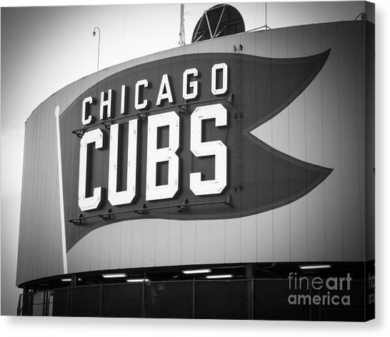 Wrigley Field Canvas Print - Chicago Cubs Wrigley Field Sign Black And White Picture by Paul Velgos