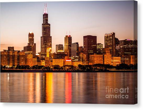 Skylines Canvas Print - Chicago Downtown City Lakefront With Willis-sears Tower by Paul Velgos