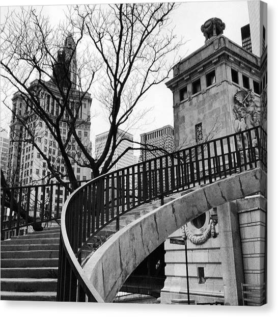 White Canvas Print - Chicago Staircase Black And White Picture by Paul Velgos