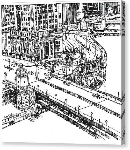 Chicago Downtown View Of Michigan Ave. And Wacker Dr. Canvas Print