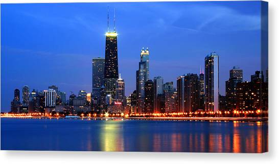 Chicago Dusk Skyline Hancock Canvas Print