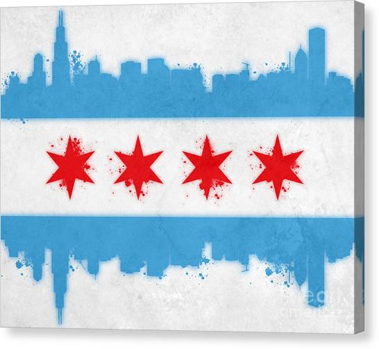 University Of Illinois Canvas Print - Chicago Flag by Mike Maher
