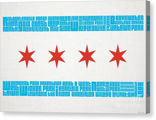 Chicago Bears Canvas Print - Chicago Flag Neighborhoods by Mike Maher
