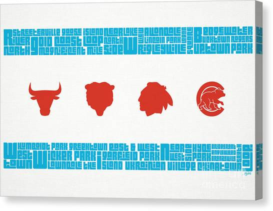 Baseball Canvas Print - Chicago Flag Sports Teams by Mike Maher