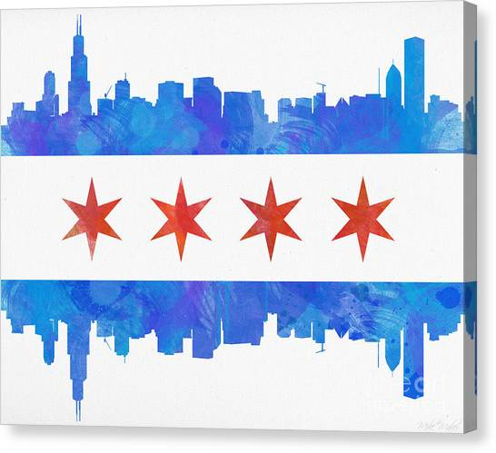 Flags Canvas Print - Chicago Flag Watercolor by Mike Maher