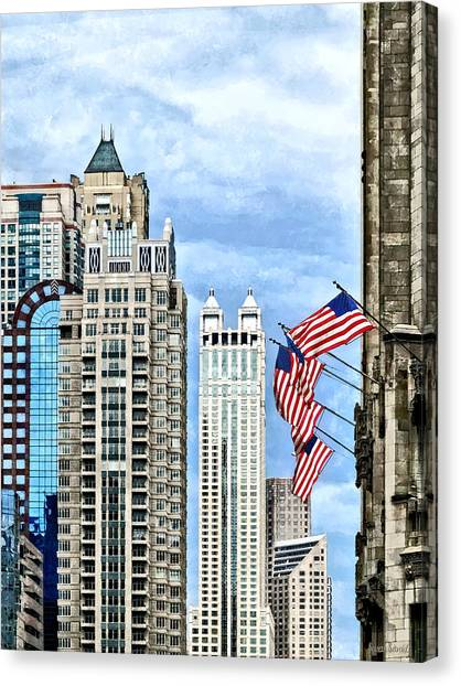 Chicago - Flags Along Michigan Avenue Canvas Print by Susan Savad