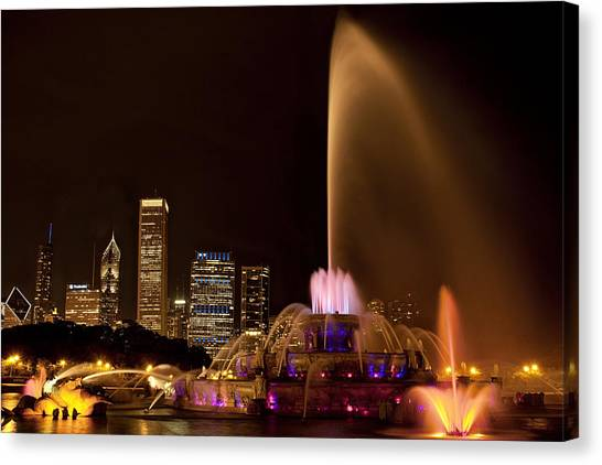 Chicago Skyline Art Canvas Print - Chicago Fountain At Night by Andrew Soundarajan
