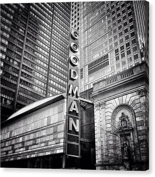 Urban Canvas Print - Chicago Goodman Theatre Sign Photo by Paul Velgos