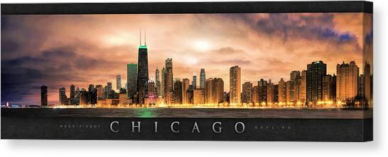 Gotham City Canvas Print - Chicago Gotham City Skyline Panorama Poster by Christopher Arndt