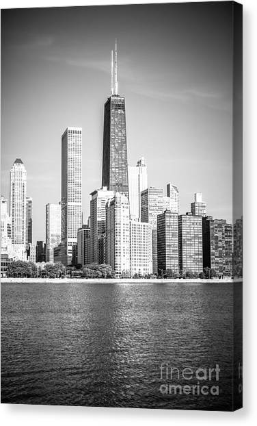 Hancock Building Canvas Print - Chicago Hancock Building Black And White Picture by Paul Velgos