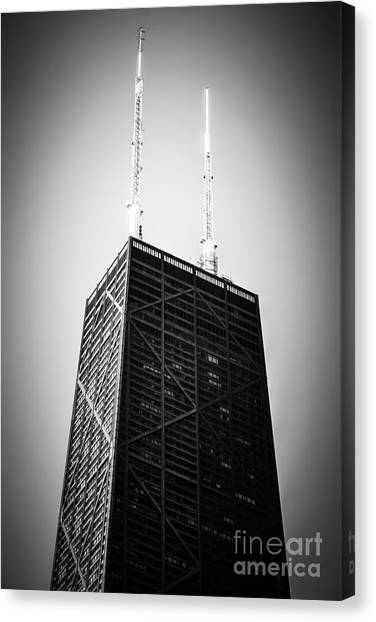 Hancock Building Canvas Print - Chicago Hancock Building In Black And White by Paul Velgos