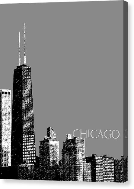 Hancock Building Canvas Print - Chicago Hancock Building - Pewter by DB Artist