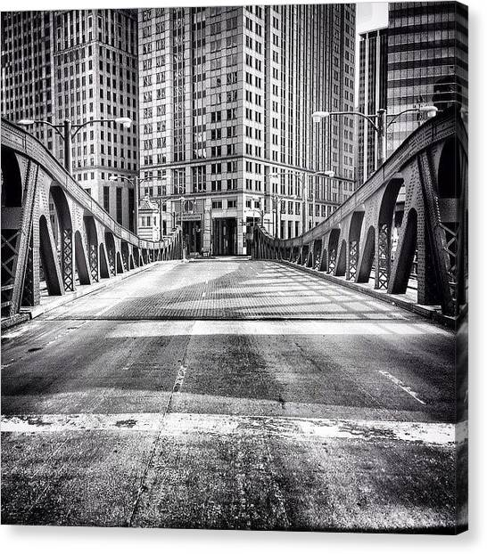 Urban Canvas Print - #chicago #hdr #bridge #blackandwhite by Paul Velgos