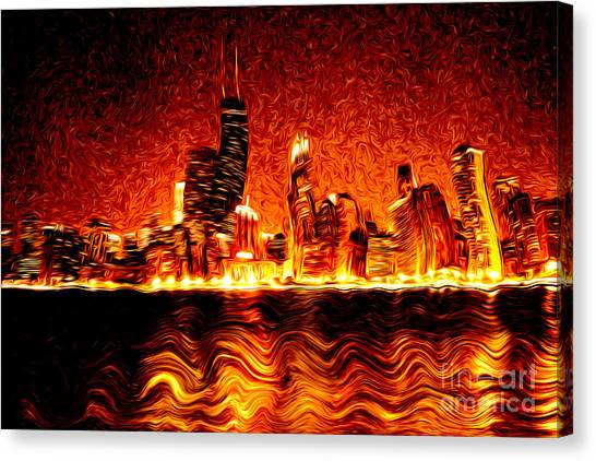 Chicago Fire Canvas Print - Chicago Hell Digital Painting by Paul Velgos