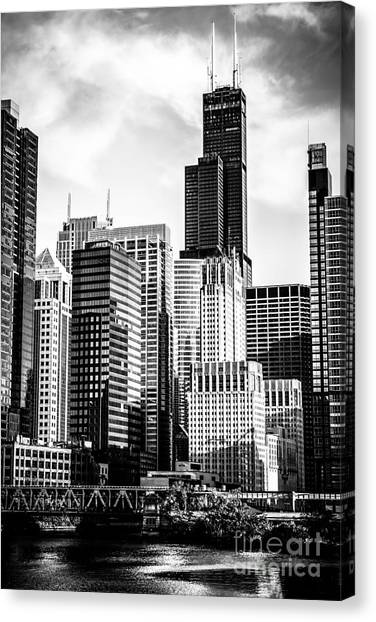 Chicago Black White Canvas Print - Chicago High Resolution Picture In Black And White by Paul Velgos