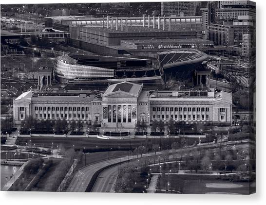 Soldier Field Canvas Print - Chicago Icons Bw by Steve Gadomski