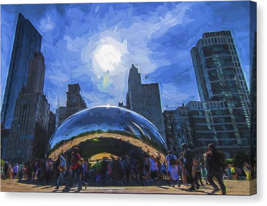 Chicago White Sox Canvas Print - Chicago Illinois Bean Skyline Painted Digitally  by David Haskett II
