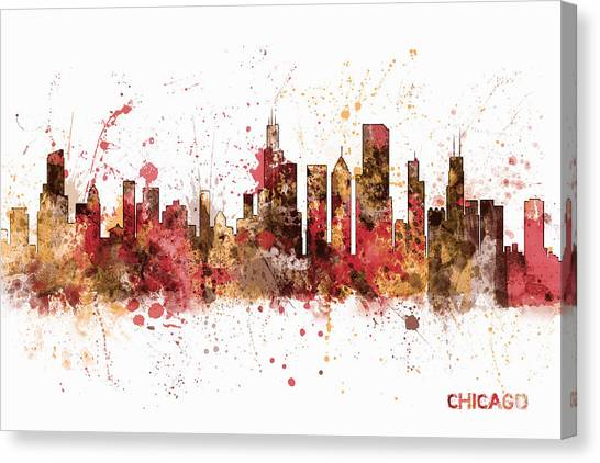 University Of Illinois Canvas Print - Chicago Illinois Skyline by Michael Tompsett