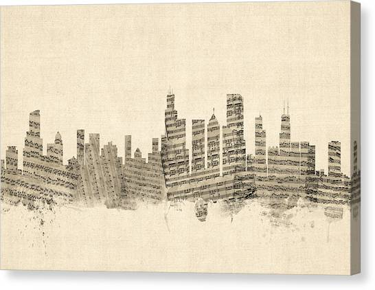 Chicago Canvas Print - Chicago Illinois Skyline Sheet Music Cityscape by Michael Tompsett