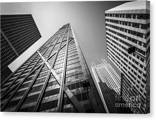 Hancock Building Canvas Print - Chicago John Hancock Building In Black And White by Paul Velgos