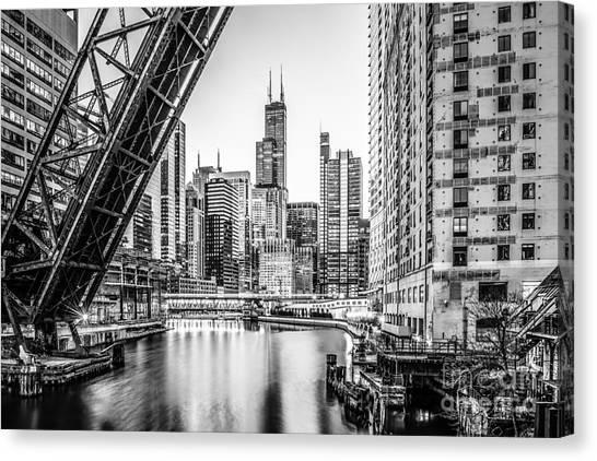 American Steel Canvas Print - Chicago Kinzie Railroad Bridge Black And White Photo by Paul Velgos