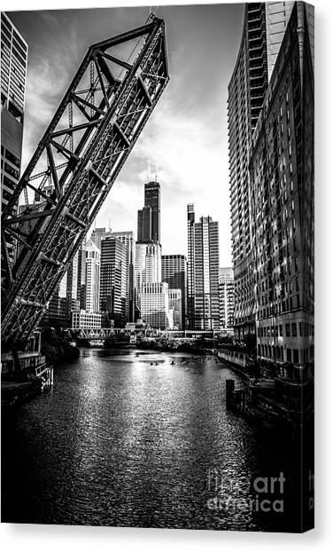 Railroads Canvas Print - Chicago Kinzie Street Bridge Black And White Picture by Paul Velgos