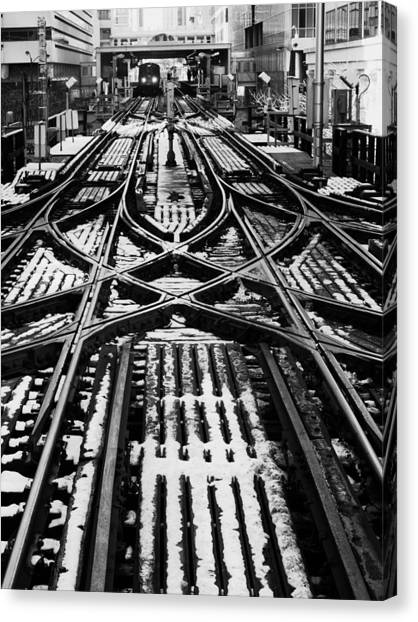 Chicago 'l' Tracks Winter Canvas Print