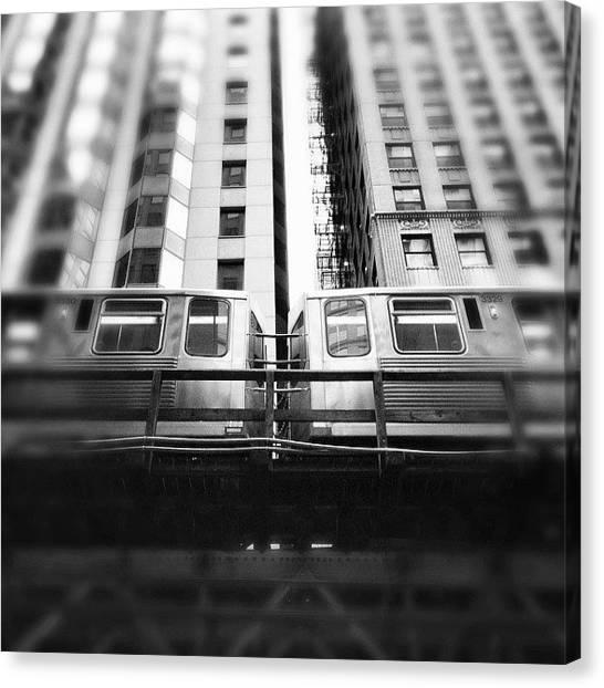 Urban Canvas Print - Chicago L Train In Black And White by Paul Velgos