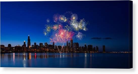Fireworks Canvas Print - Chicago Lakefront Fireworks by Steve Gadomski