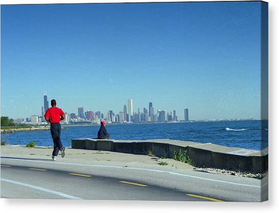 Chicago Lakefront Runner Canvas Print by Eric Miller