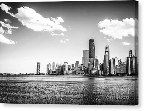 Hancock Building Canvas Print - Chicago Lakefront Skyline Black And White Picture by Paul Velgos