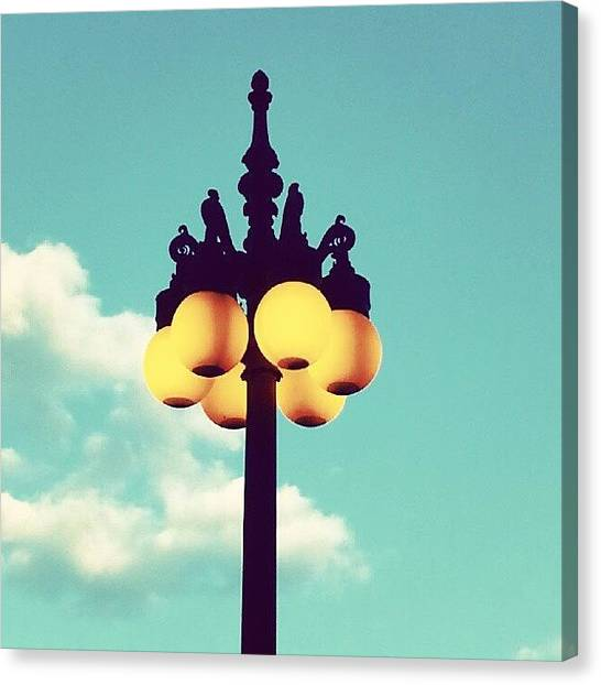 Streets Canvas Print - Chicago Lamp Post And Blue Skies by Jill Tuinier