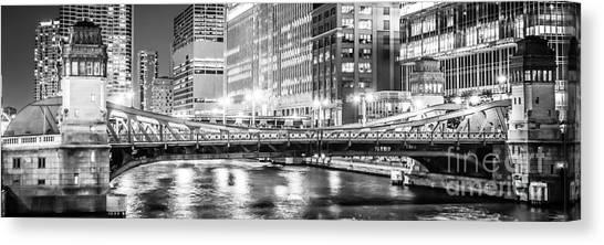 Merchandise Canvas Print - Chicago Lasalle Street Bridge At Night Panorama Photo by Paul Velgos